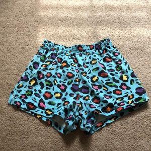 Blue cheetah print soffe shorts